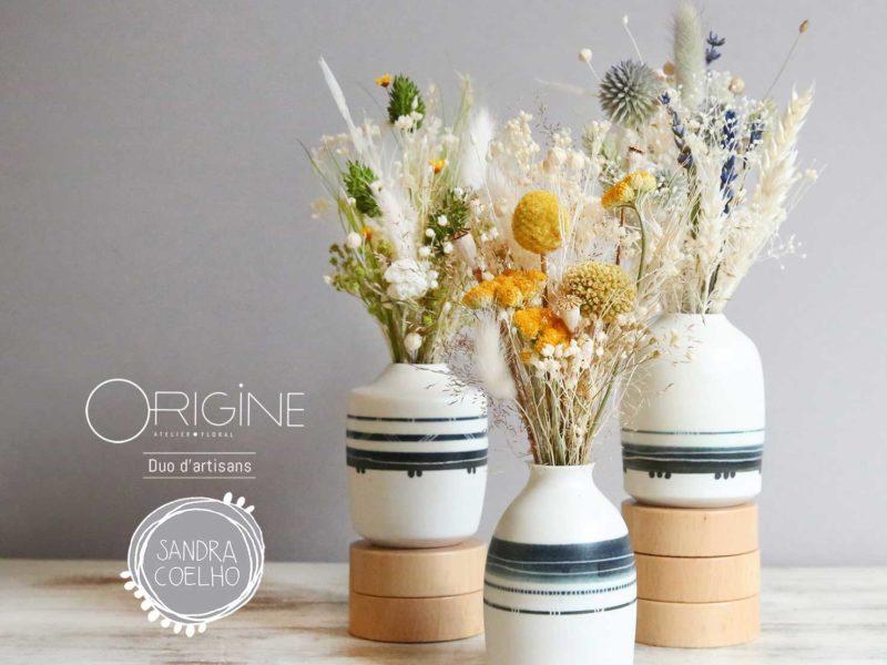 vase porcelaine et fleurs séchées fait main Saint Etienne